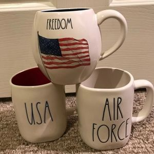 Rae Dunn Air Force, USA & freedom mug set